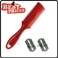 Red Home Use Bangs Hair Comb Trimmer Barber Tool With 2 Blades