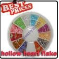 Nail Art Heart Hollow Flake Glitters Acrylic Tips Decoration Wheel