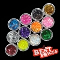 12 Color Glitter Powder Nail Art Kit Acrylic UV Dust Gem Polish