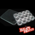 12 x Nail Art empty box container transparent S213