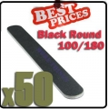 50 x Nail Files 100/180 Black Round Nail Art Manicure