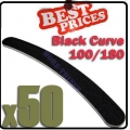 50 x Nail Files 100/180 Black Curve Nail Art Manicure