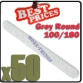 50 x Nail Files 100/180 Grey Round Nail Art Manicure*