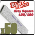 50 x Nail Files 100/180 Grey Round Nail Art Manicure