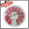 Nail Art Quality Pink Rhinestones in Mix Size Wheel