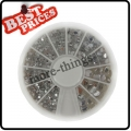 Clear Mix Sizes ROUND Rhinestones with Wheel Nail Art Tips