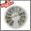 12 Style Clear Color Nail Art Rhinestones Glitters Wheel