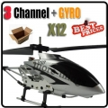 12 x S107G Silver 3CH RC Remote Control GYRO Metal Helicopter