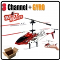 Red S107 3 Channel 3CH Remote Control RC GYRO Metal Helicopter