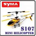 Yellow Syma S107 GYRO MiNi 3CH RC Helicopter RTF Metal Gift D5*