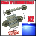 2x Car Blue Dome 3528 SMD 12 LED Interior Festoon Light Bulb Lamp 31mm 12V New