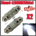 2 Pcs 31mm 4 Led Pure White Festoon Interior Dome Map Trunk Light Lamp Bulb 12V