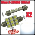 2x C5W 9 LED 5050 SMD Xenon White 39mm Plate Lamp Bulb shuttle Ceiling F