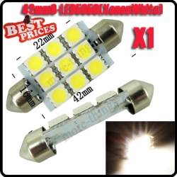 1x Dome 9 SMD LED Bulb Light Interior Festoon Lamp 42mm