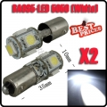 2X BA9S 5 SMD 5050 LED Pure White CANBUS Error Free Interior Car H6W Light Bulb