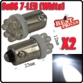 2X T11 BA9 BA9S T4W 233 1895 H6W White Car Auto 7 LED Side Light Lamp Bulb 12V