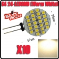 10X Warm White G4 24 SMD LED RV Camper Marine Lamp Cabinet Spot Light Car Bulb