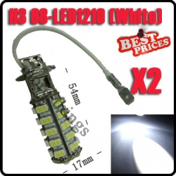 2x H3 68 SMD LED Car Auto Fog Head Parking Signal Headlight Light Lamp Bulb 12V