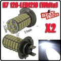 2X Car Auto 120 LED 3528 SMD H7 Xenon White Fog Driving Head Light Lamp Bulb 12V