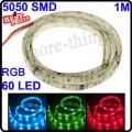 60 LED SMD 5050 RGB Auto Decoration Flexible Strip Light PT65 Waterproof 12V 1M