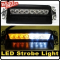 8 LED Amber/White Car Dash Strobe Emergency Deck Warn Light 3 Flashing Modes