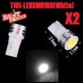 2pcs White 1W T10 168 194 LED SMD Wedge Light Lamp Bulb