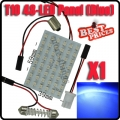 Blue Car Interior 48 SMD LED Bulb Lamp Light Panel T10 Dome Bulb BA9S Adapter