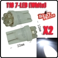 2x T10 501 W5W Pure White 7 LED 194 168 Car side Light Wedge Bulb Lamp DC 12V