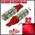 2X Car T10 W5W 13 SMD LED 5050 HID Light Wedge Bulb Lamp 12V Red 168 501 194 New