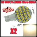 2 T10 194 921 W5W 24 1210 SMD LED Warm White RV Boat Landscaping Light Lamp Bulb