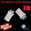 10X T10 501 W5W 194 168 Pure White Car 4 LED Wedge Side Light Lamp Bulb 12V