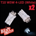 2X T10 501 W5W 194 168 Pure White Car 4 LED Wedge Side Light Lamp Bulb 12V