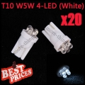 20X T10 501 W5W 194 168 Pure White Car 4 LED Wedge Side Light Lamp Bulb 12V
