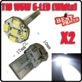 2X T10 Parker 2825 1206 5 LED Pure White Car Wedge SMD Bulb Light Lamp 12V
