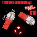 10X T10 194 168 W5W 5 SMD 5050 Red LED Car Wedge Tail Side Light Lamp PRO