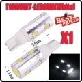 1x T10 168 194 501 921 W5W 7 SMD 4W LED White High Power Light Bulb Lamp 12V New