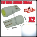 2X T10 501 W5W 1W LED Ceramic Shell White HID Interior Sidelight Light Lamp Bulb