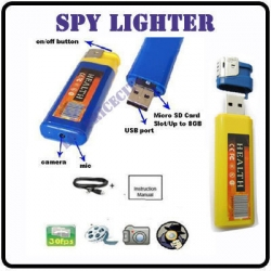 Yellow Lighter Spy Camera Spy Cam Camcorder USB DVR DV Hidden