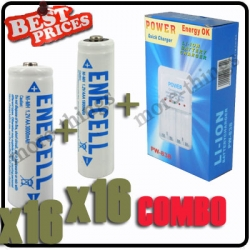 16 x AA 3000mAh +16x AAA 1800mAh Rechargeable Battery 1.2V White+Charger*