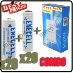 20 x AA 3000mAh +20 x AAA 1800mAh Rechargeable Battery 1.2V White+Charger*