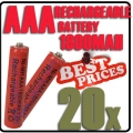 20 x AAA 1.2V Ni-MH Rechargeable battery Red Cell for MP3 RC Toys