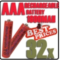 32x AAA 1.2V Ni-MH Rechargeable battery Red Cell for MP3 RC Toys