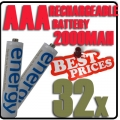 32pcs AAA 1.2V Ni-Mh Energy Rechargeable Battery Cell White Color