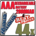 44pcs AAA 1.2V Ni-Mh Energy Rechargeable Battery Cell White Color*