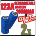 2x CR123A CR123 123A 16340 3.6V GTL Rechargeable Battery Blue*