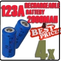 4x CR123A CR123 123A 16340 3.6V GTL Rechargeable Battery Blue