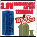 10 x 123A CR123A LR123A 3.6V Li-ion UltraFire Rechargeable Battery