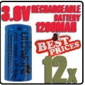 12 x 123A CR123A LR123A 3.6V Li-ion UltraFire Rechargeable Battery
