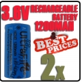 2x 123A CR123A LR123A 3.6V Li-ion UltraFire Rechargeable Battery