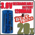 20 x 123A CR123A LR123A 3.6V Li-ion UltraFire Rechargeable Battery